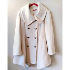 Alice Olivia Pea Coat Cream Double Breasted